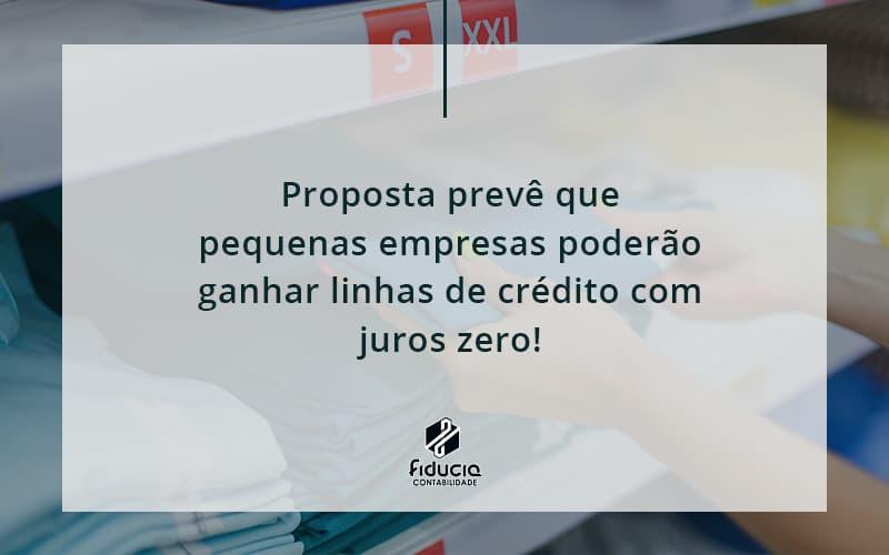 Proposta Prevê Que Pequenas Empresas Poderão Ganhar Linhas De Crédito Com Juros Zero Fiducia - FIDUCIA Contabilidade   Assessoria e Consultoria no Rio de Janeiro